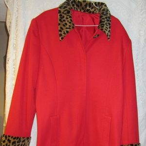 Vintage red coat faux leopard collar / cuffs
